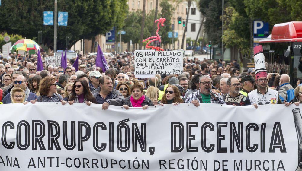 Manifestación contra la corrupción en Murcia