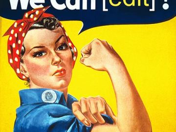 "Obra derivada del famoso poster ""We can do it"" realizada por Tom Morris."