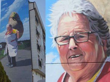 Mural de abuela gallega