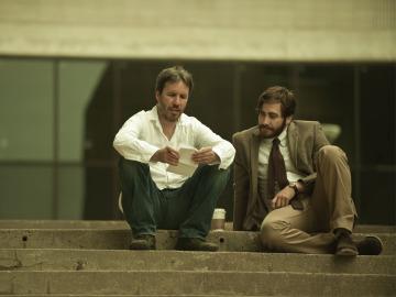 Jake Gyllenhaal y Denis Villeneuve durante el rodaje de Enemy.