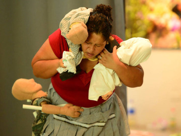 Una de las protagonistas de la obra de teatro 'Si vos no hubieras nacido'